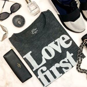 J. Crew Charcoal Gray 'Love First' Graphic Tee